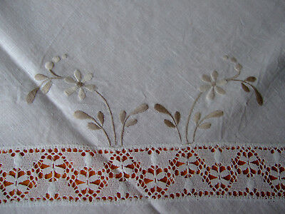 """Vintage Ivory Linen Embroidered & Crochet Tablecloth.44""""square.GC"""