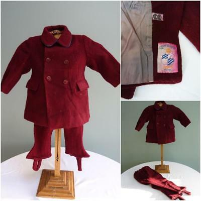 Vintage 1940s WW2 Era CC41 Utility Mark Boys Red Wool Suit - Jacket & Trousers