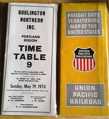 Vintage Union Pacific Railroad Territorial Map/Burlington Northern Time Table 9