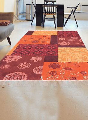 Unamourdetapis   Tapis De Salon Moderne Design   ORANGE CRUSH   Coton
