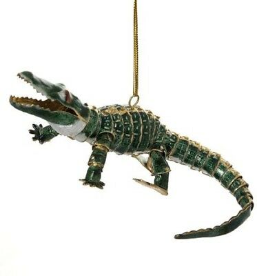 Alligator Articulated Cloisonne Metal Christmas Tree Ornament Animal Wildlife