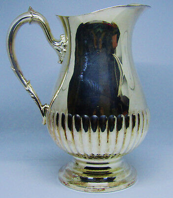S W Port Silverplate Ribbed Pitcher #YB600 w/ Ice Lip Marked on Bottom