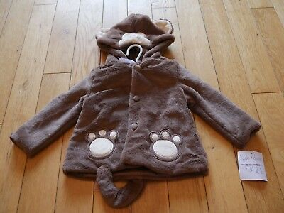 Baby Boys Hooded Jacket Age 12-18 Months Taupe Kyle And Deena Bnwt