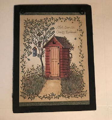 That Dear Old Country Landmark Outhouse bathroom rustic wall decor wood sign 6x8