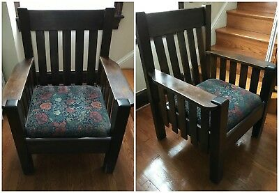 Stickley-style Oak Chair, Cloth Seat