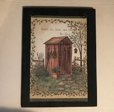 Behind the House down the Lane Outhouse bathroom rustic wall decor wood sign 6x8