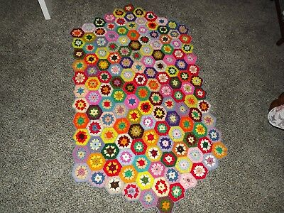 "Vintage Handmade Crocheted Quilt Piece Multi-Colored 32"" x 54"""