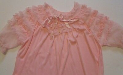 f7478914603 Vintage Vanity Fair PINK Ruffled Nightie Nightgown nylon chiffon Lingerie L  - XL