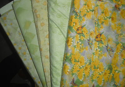 5 YARDS  Quilt Fabric Kit - Henry Glass Fresh as a Daisy - Green/Yellow Set