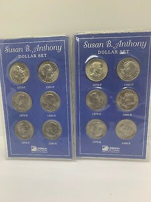 2 Susan B Anthony dollar set (Littleton coin holder) 1979 PDS 1980 PDS