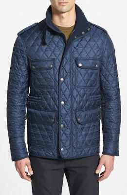 ae66e271f7c6 BURBERRY BRIT Men s Navy Russell Quilted Barn Jacket Sz L  695 NEW