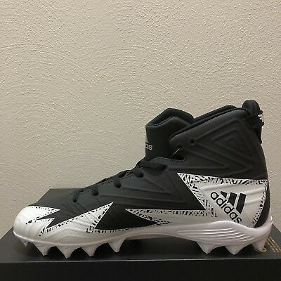 wholesale dealer a29a0 a25c8 🚨New Adidas Mens White Black Metallic Silver Football Cleats Size 11.5