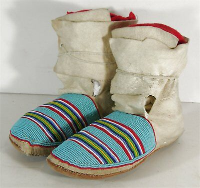 1930 Pair Of Native American Northern Plains / Crow Indian Beaded Hide Moccasins