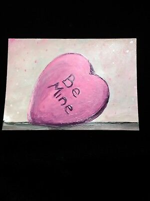 painting ARTIST TRADING CARD signed ACEO original Valentine Day love candy heart