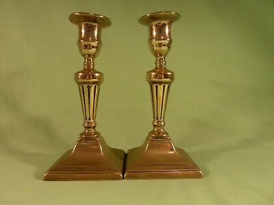 Pair Antique Georgian Early 19th Century Square Base Brass Candlesticks
