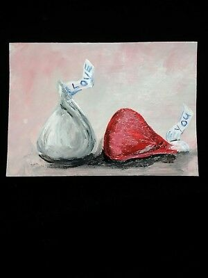 painting ART TRADING CARD signed ACEO original Valentine candy kiss Hershey love