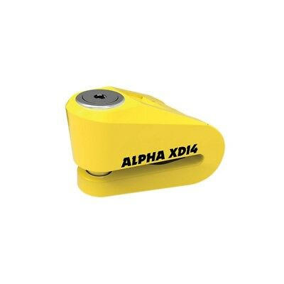 Oxford Alpha XD14 Motorcycle Bike Scooter Disc Lock 14mm Pin Yellow Sold Secure
