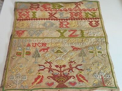 "Wonderful 19Th Century Sampler By ""Ann Roberts Aged 10"" In 1865 Uu57"