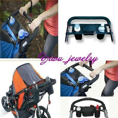 New Black Baby Stroller Parent Console Organizer Double Cup Holder Mummy Bag YZ