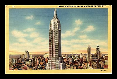 Dr Jim Stamps Us Midtown New York City Empire State Building Linen Postcard