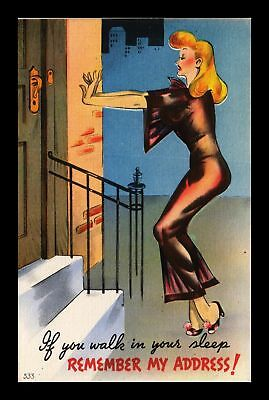 Dr Jim Stamps Us Sleep Walking Lady Remember Address Comic Linen Postcard