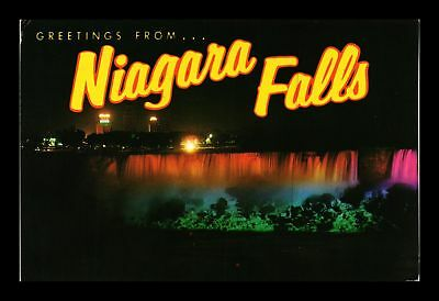 Dr Jim Stamps Us Night View Niagara Falls Illuminated Postcard