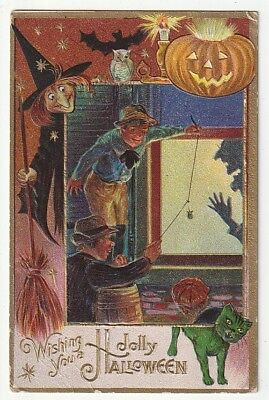 Witch & Green Cat Watch Boys Scare Man w/ Spider~Halloween Postcard~Series #4
