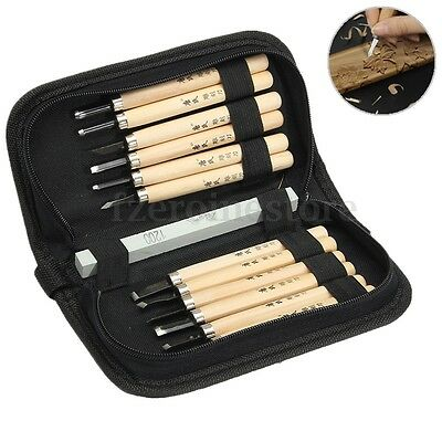 12 Piece Wood Carving Carvers Working Woodcut Chisel Hand Tool +