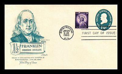 Dr Jim Stamps Us Ben Franklin Embossed Dual Franked Fdc Cover 1960