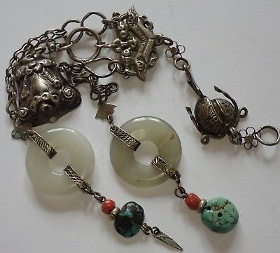 Unusual Antique Chinese Silver Coral Turquoise Jade Pendant Ornament