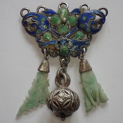 Antique Chinese Silver Enamel Carved Green White Jade Pendant Ornament