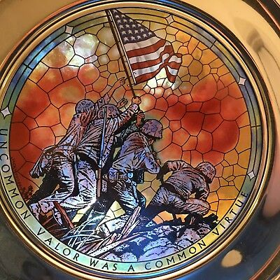 United States Historical Society Commemorative Pewter Plate Of USMC In Iwo Jima