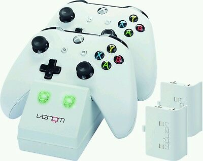 Venom Xbox One Twin Charging Station & Battery Packs - White - VS2859
