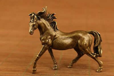 Rare chinese old copper hand carved horse statue figure collectable ornament