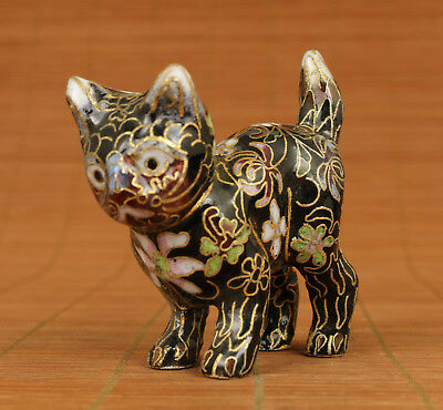 Rare Chinese Old Cloisonne Enamels Handmade Carved Cat Statue