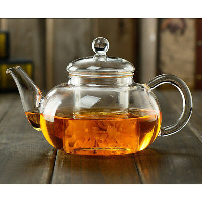 Heat Resistant Clear Glass Teapot With Infuser Coffee Tea Leaf Herbal Pot