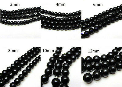 3MM/4MM/6MM/8MM/10MM/12MM Glass Pearl Czech Round Loose Spacer Beads Black Color