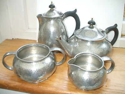ANTIQUE LIBERTY TUDRIC HAMMERED PEWTER 4-PIECE TEA-SET c1903 SOLKETS HASELER