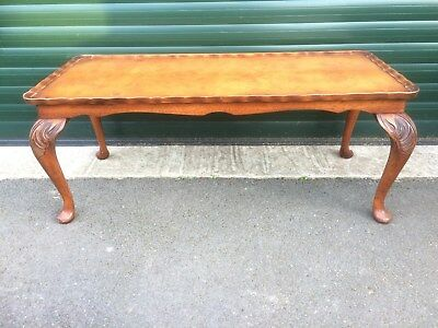 Bevan Funnell Walnut Reprodux Coffee Table With Pie Crust Edge & Cabriolet Legs