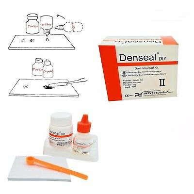 Denseal DIY Permanent White Dental Teeth Tooth Filling Kit, Loose Caps, 30+ Rep