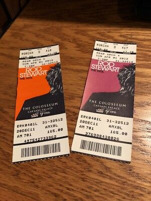 Two Vintage Rod Stewart Tickets From The Colosseum At Caesars Place In Las Vegas