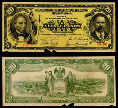 1915 State of Sinaloa Mexico 20 Pesos Banknote Unlisted Variety Apparent AU+