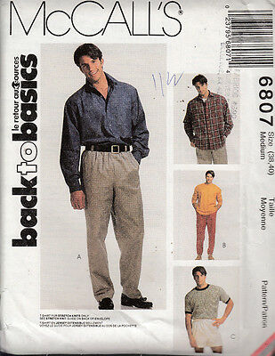Mccall's Sewing Pattern #6807 Mens T-Shirt, Pants, And Shorts