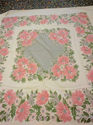 Vintage Printed Cotton Tablecloth Pink Cosmos Flowers 46 x 50 Gray Center LOVELY