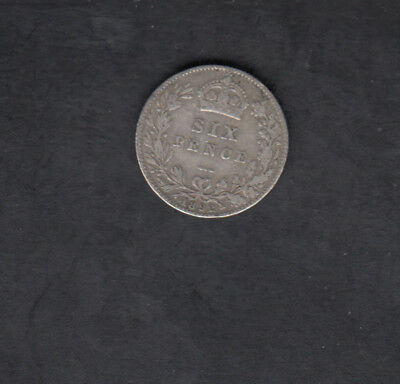 1892 Great Britain Silver 6 Pence