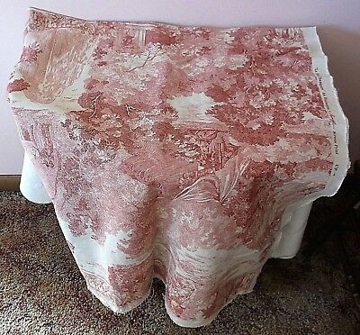"Vtg Greef Toile Screen Print Upholstery Fabric ""la Fete Champetre"" 70"" X 50"""