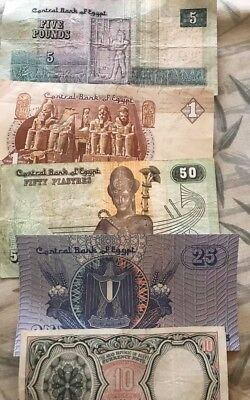 Egyptians old paper money 10 ,25,50 piasters 1 & 5 pounds
