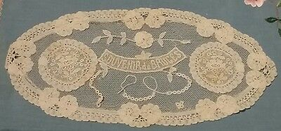 ANTIQUE BELGIUM LACE, small coaster SOUVENIR from BRUGES, 25 X 12 CM, LOVELY