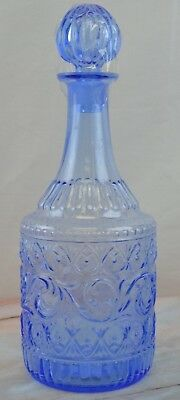""""""" EUROPE """" Light Blue Glass Decanter With Stopper, Ornate Cute Glass Design"""