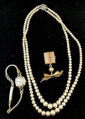 Vintage 1940's Retro Period Collection Watches & Faux Pearl Sterling Necklace